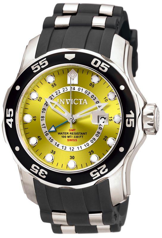 Invicta Mens Pro Diver Scuba Swiss Quartz GMT Yellow Dial Black