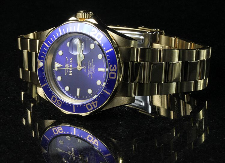 Invicta Mens Pro Diver Swiss 18k Gold Plated Watch NEW