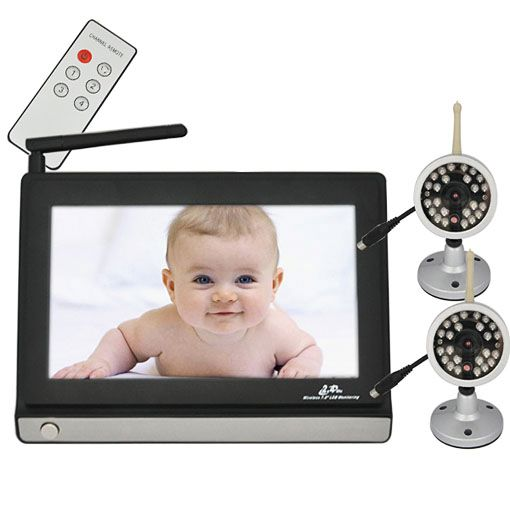 wireless baby monitor with two camera 7 tft lcd 2 4ghz ebay. Black Bedroom Furniture Sets. Home Design Ideas