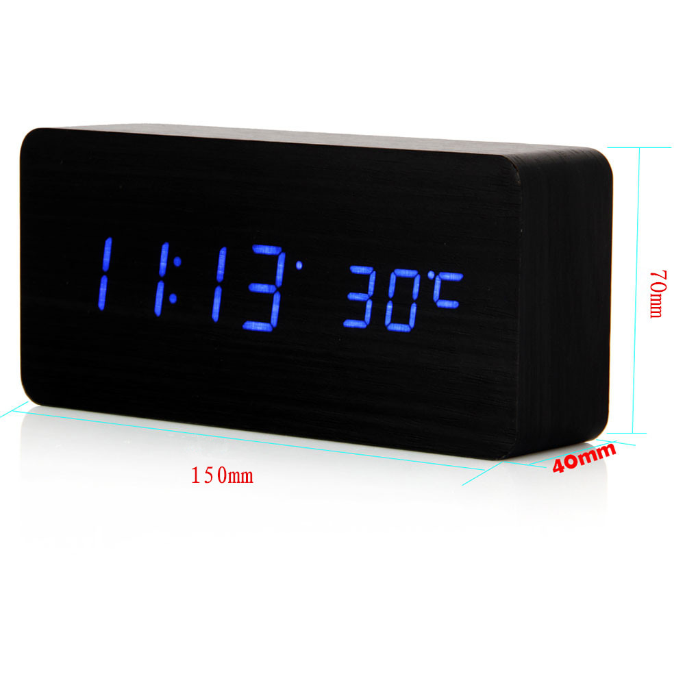 new modern digital black alarm desk clock thermometer led display  - new modern digital black alarm desk clock thermometer led display multicolors