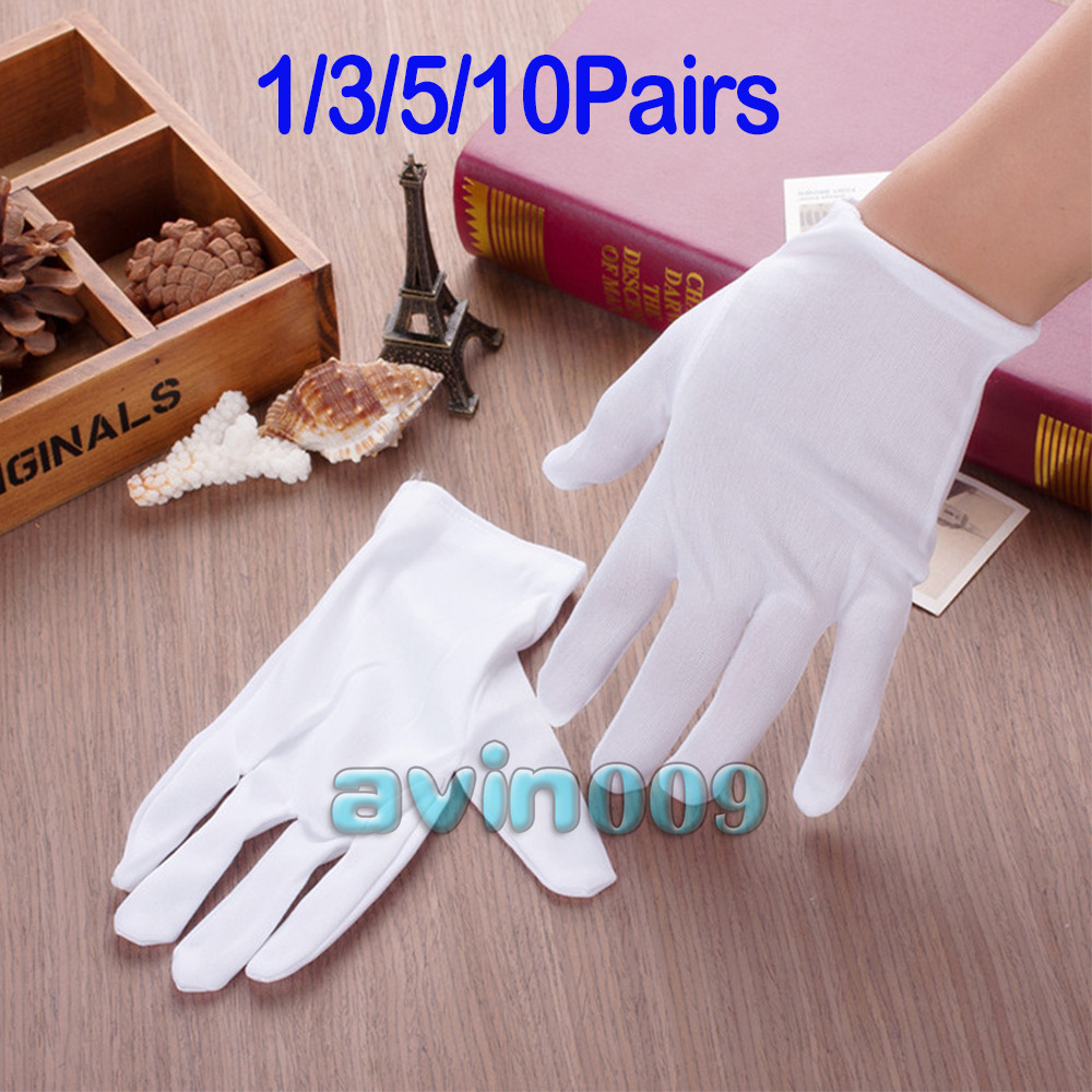 Black cotton gloves for eczema - 1 3 5 10 Pairs White 100 Cotton Gloves Antique Eczema Coin Handling Inspection