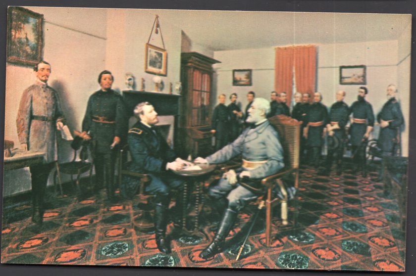 Painting Surrender of General Robert E. Lee to General Ulysses S. Grant April 9, 1865 Civil War - Chrome 1950s-1970s