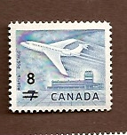 Canada # 430, 8¢ on 7¢, 1964 Jet Surcharge MNH