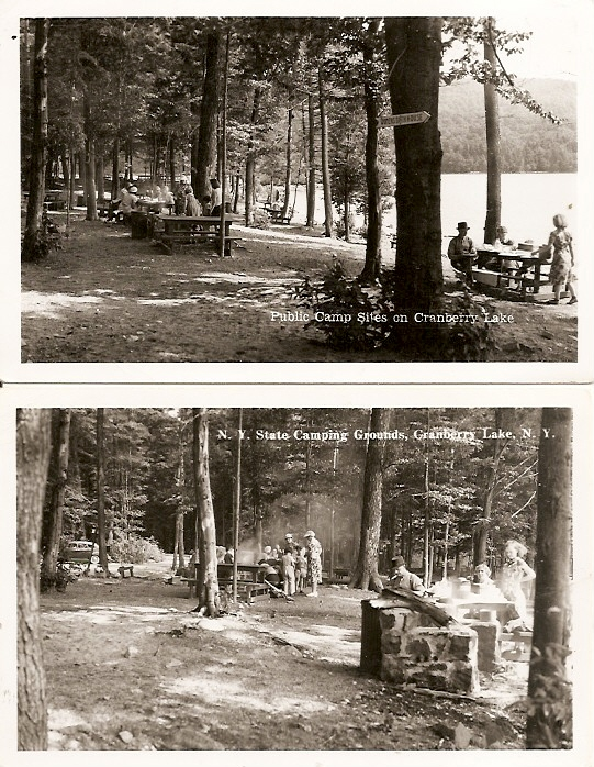 (2) New York ~  State Camping Grounds CRANBERRY LAKE - KODAK Stamp Box RPPC Real Photo Postcard