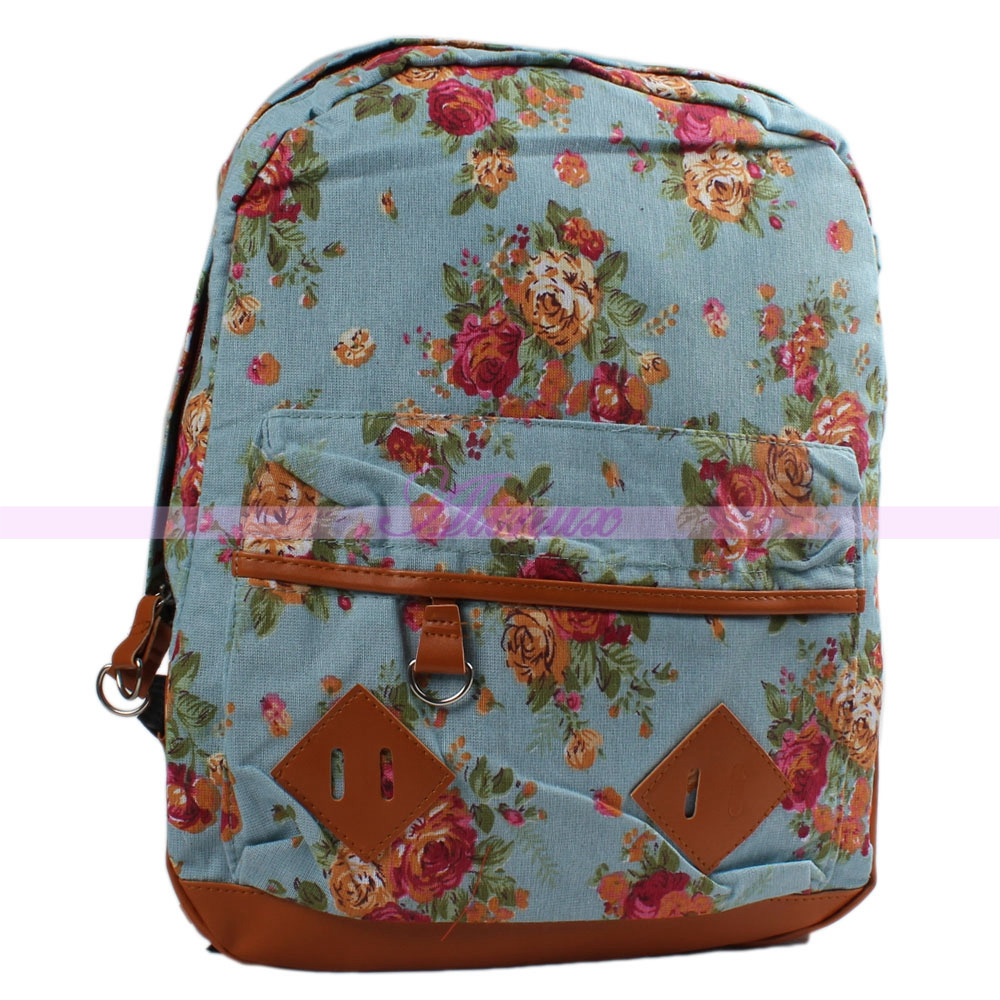 Vintage Women Girls Flower Floral Bag Schoolbag Bookbag