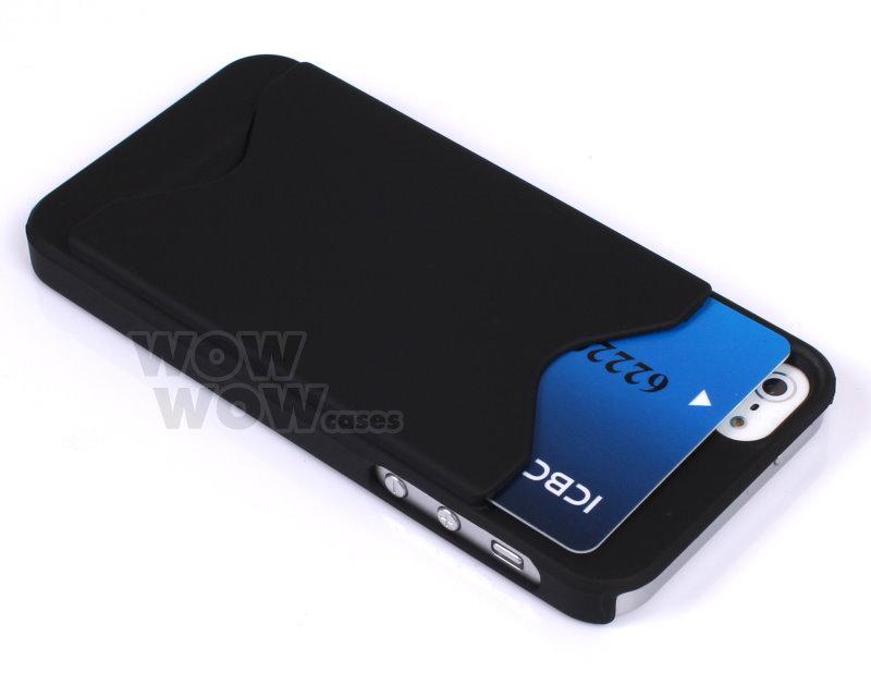 Black id business credit card holder hard case back cover for Iphone business card holder