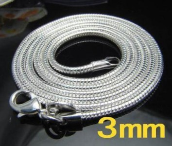 Wholesale-2X-925Sterling-Silver-Snake-Chain-Necklace-3MM-16-18-20-22-24-30