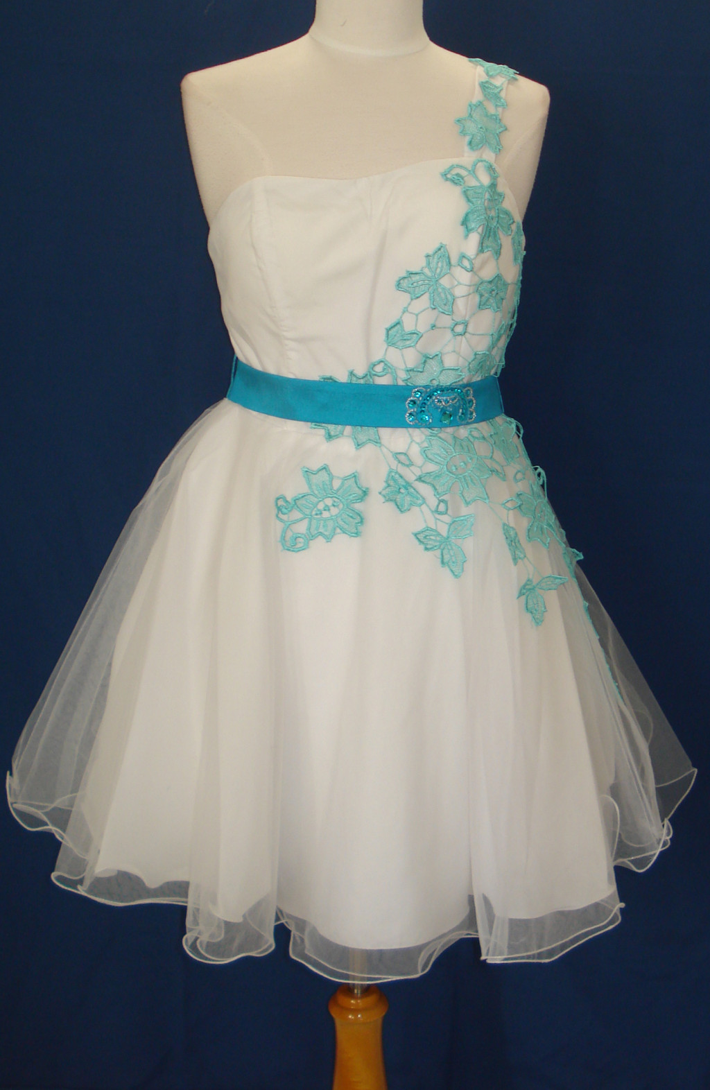 Short dress sweet 16 dance prom evening pageant party for Turquoise and white wedding dresses
