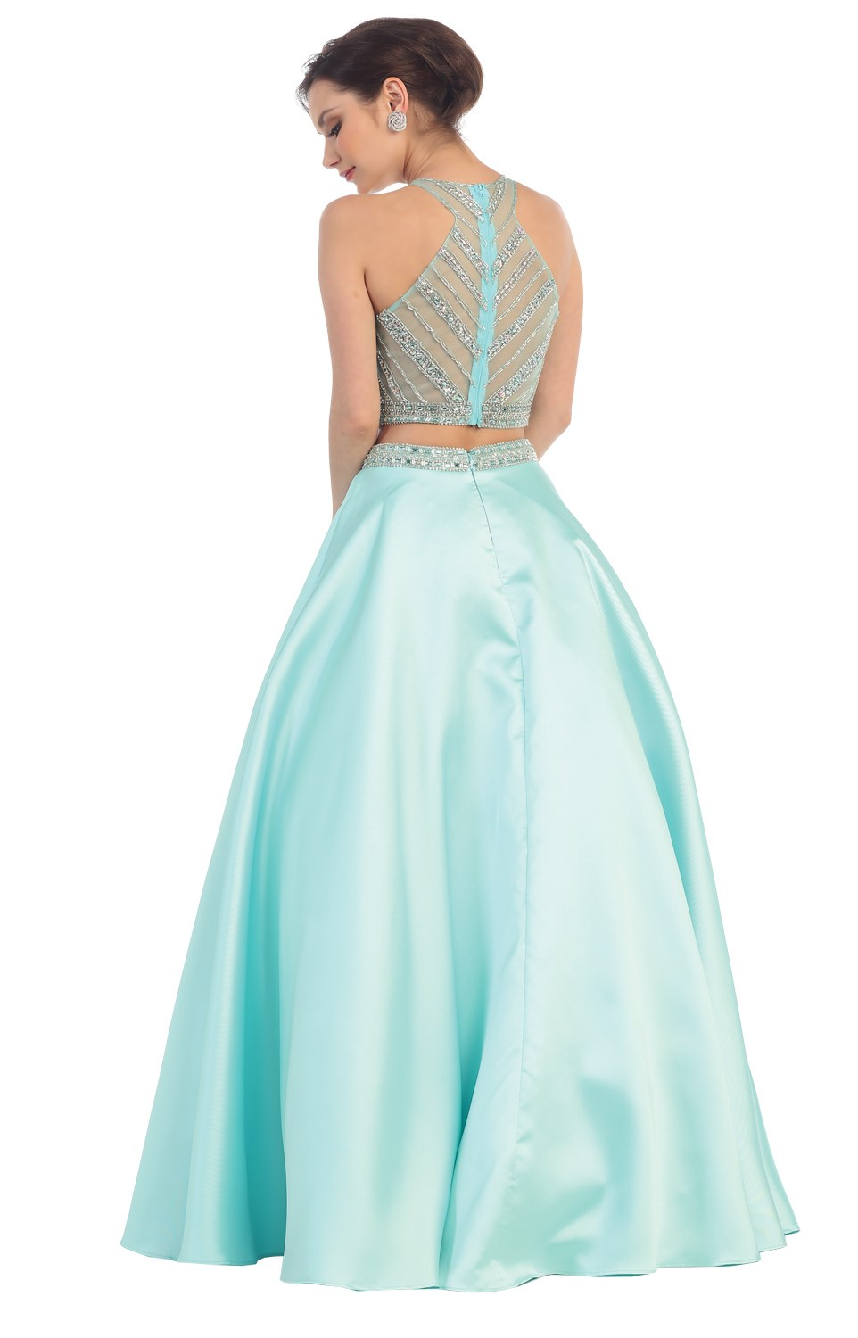 Cinderella Midriff Sexy Ball Gown Long Prom Cocktail Dresses ...