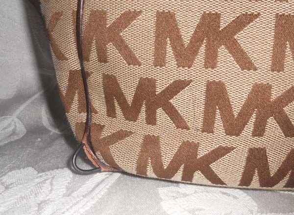 Michael Michael Kors Ebony Signature Brown Pocket Tote Handbag