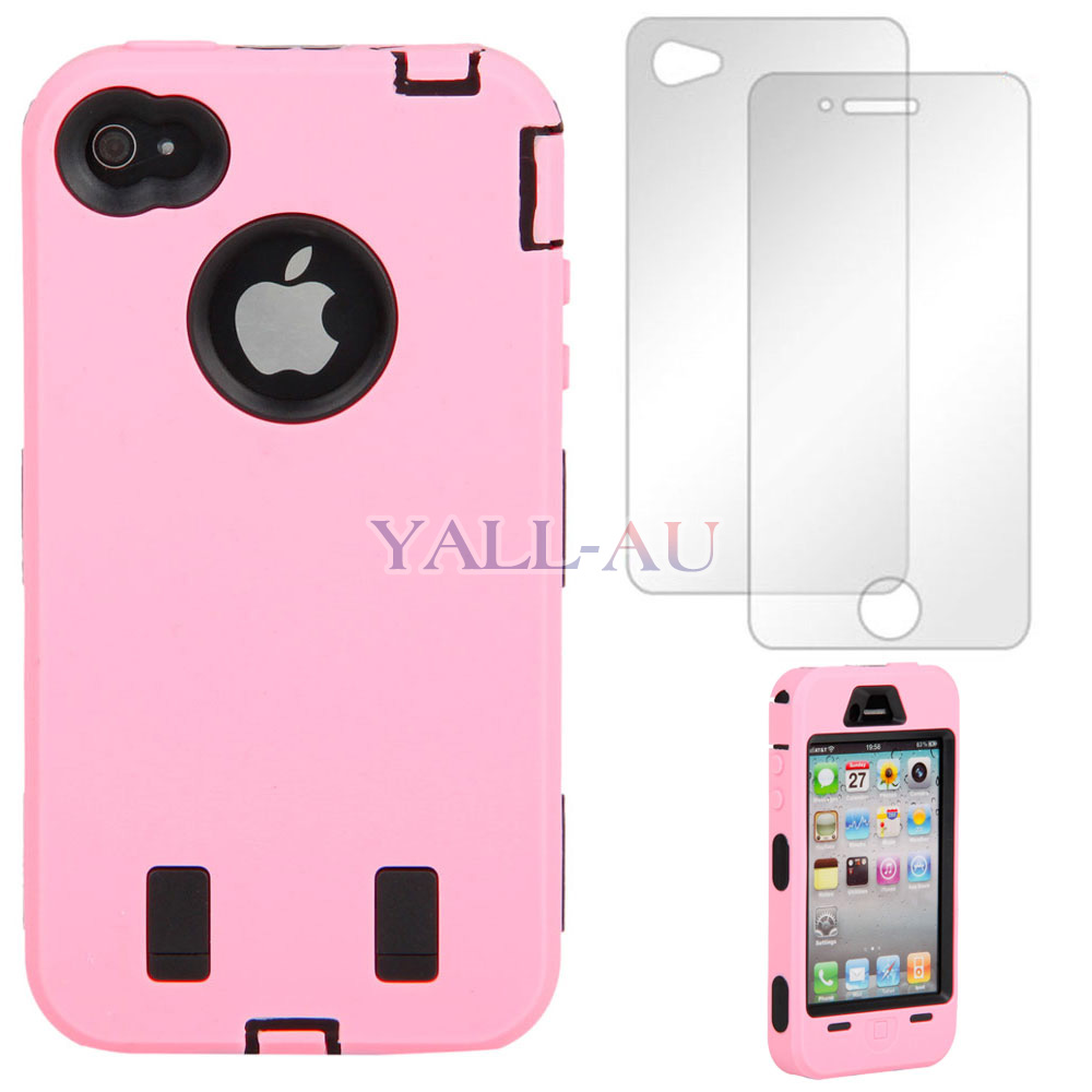New-High-Impact-Deluxe-Duty-Hard-Case-Cover-For-iPhone-4-4S-B-Pink-Gift