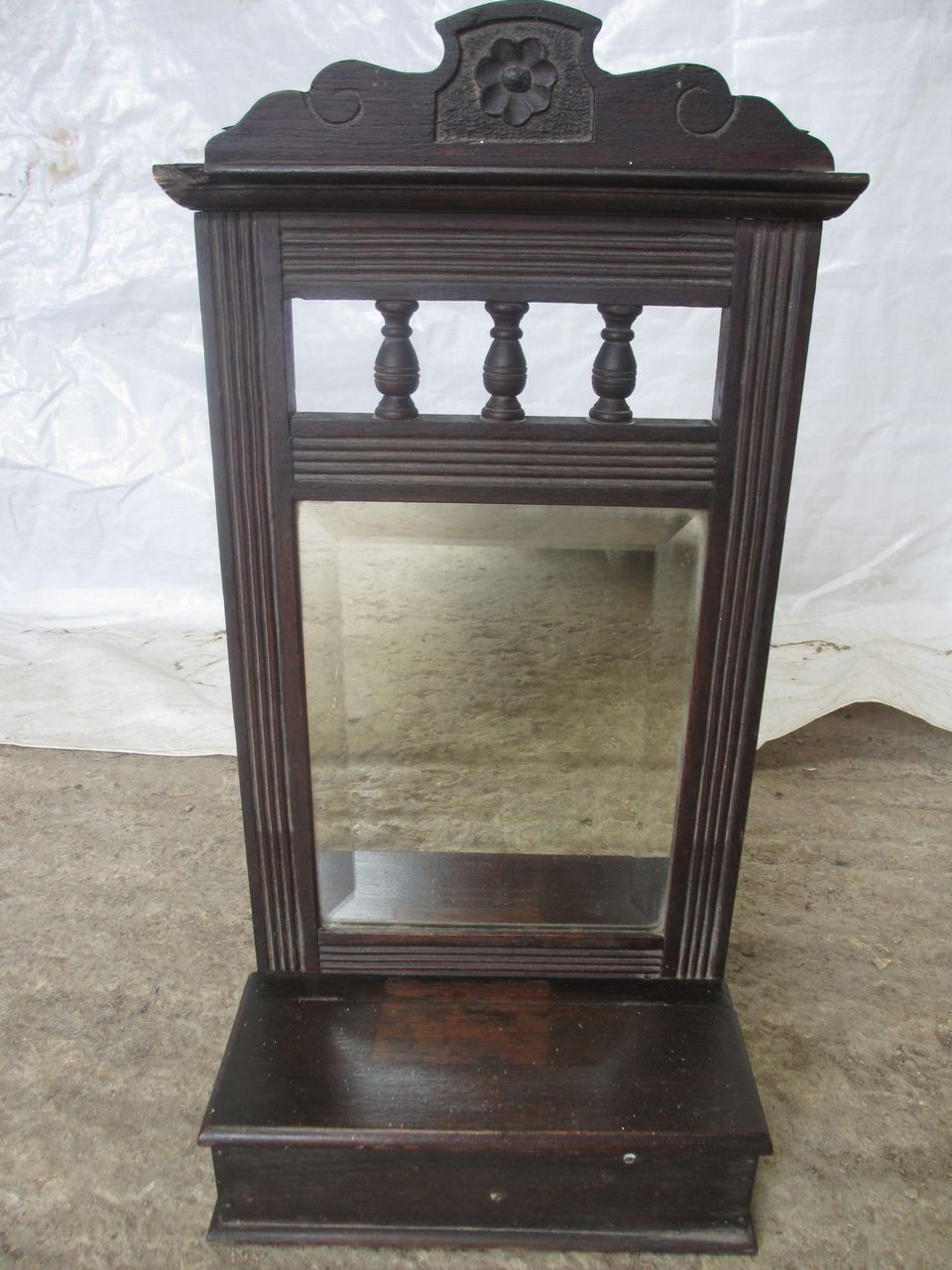 Small-Victorian-Oak-framed-bevel-edge-hall-wall-mirror-ref-074