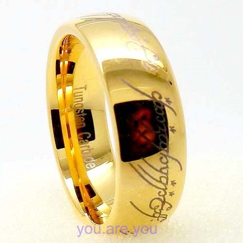 8mm Tungsten Carbide Gold Lord OF THE Rings Wedding Band