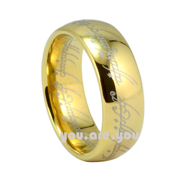 Tungsten Wedding Band 18K Gold Lord Ring Elvish Mens Womens Bridal SIZE 7