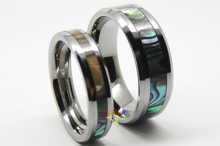 New matching tungsten carbide ring set men lady wedding for Tungsten carbide wedding ring sets
