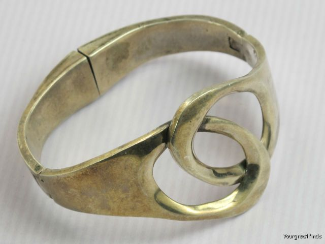 VINTAGE MEXICAN TAXCO HEAVY 925 STERLING SILVER MODERNIST HINGED