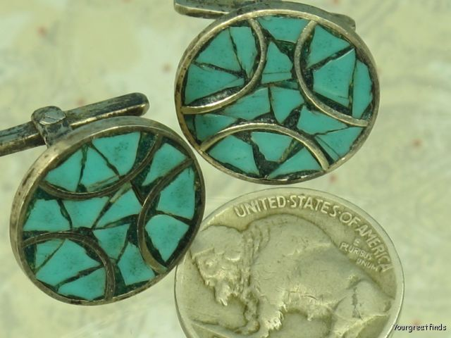 VINTAGE MEXICAN MEXICO TAXCO 925 STERLING SILVER TURQUOISE CUFF LINKS