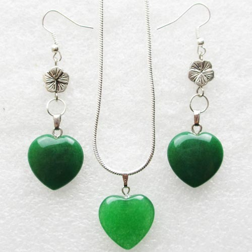 H0020 Mixed Stone Heart Earring & Necklace Sets