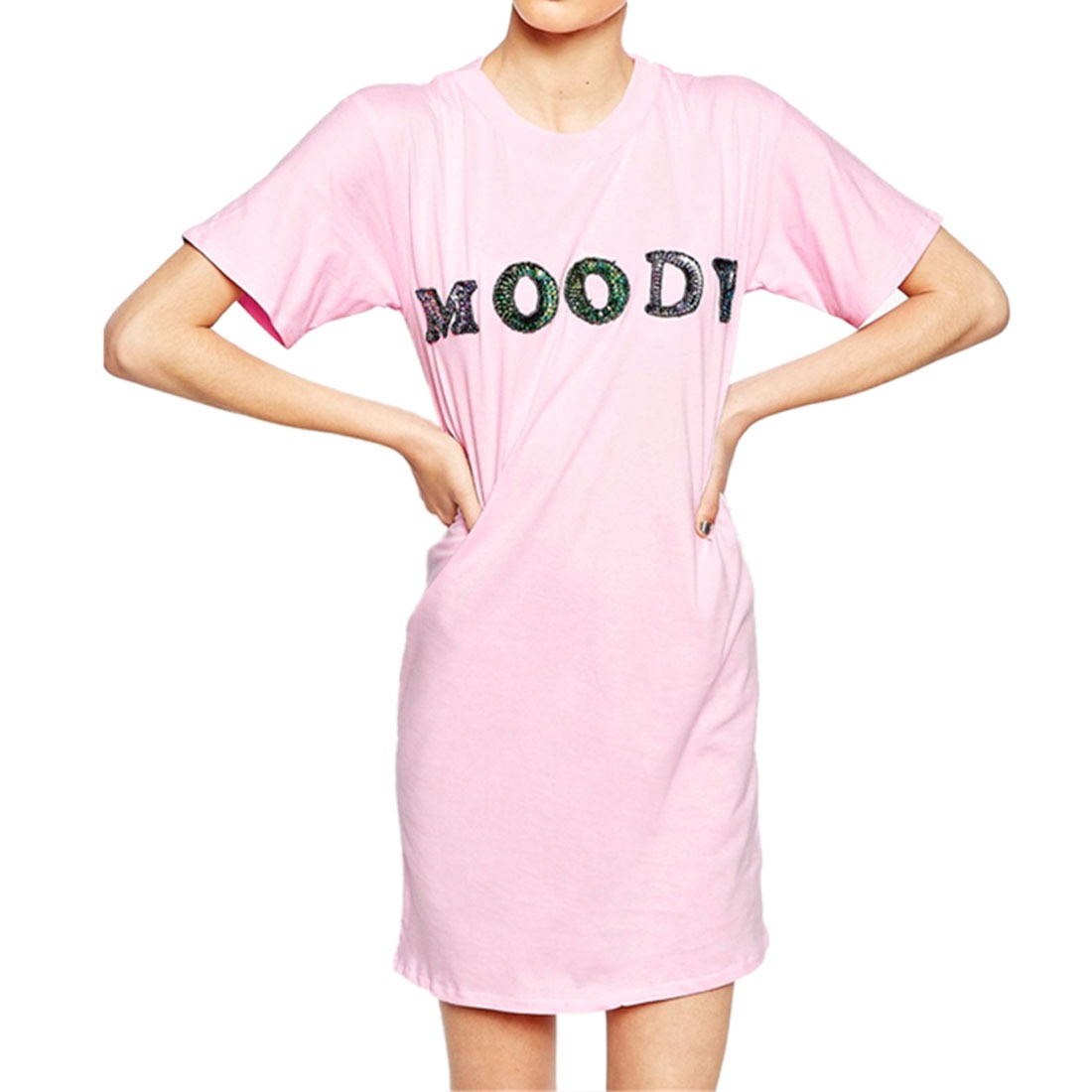 Summer Pink Womens Short Sleeve Sequin Letter Printed Loose Skinny Dress XS-XXL