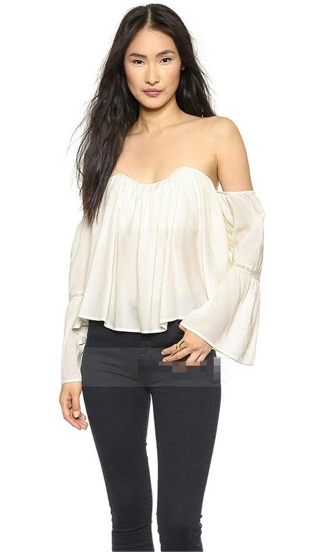 Vintage Off shoulder Women Girl Chiffon short sexy casual Tops Blouses Shirt