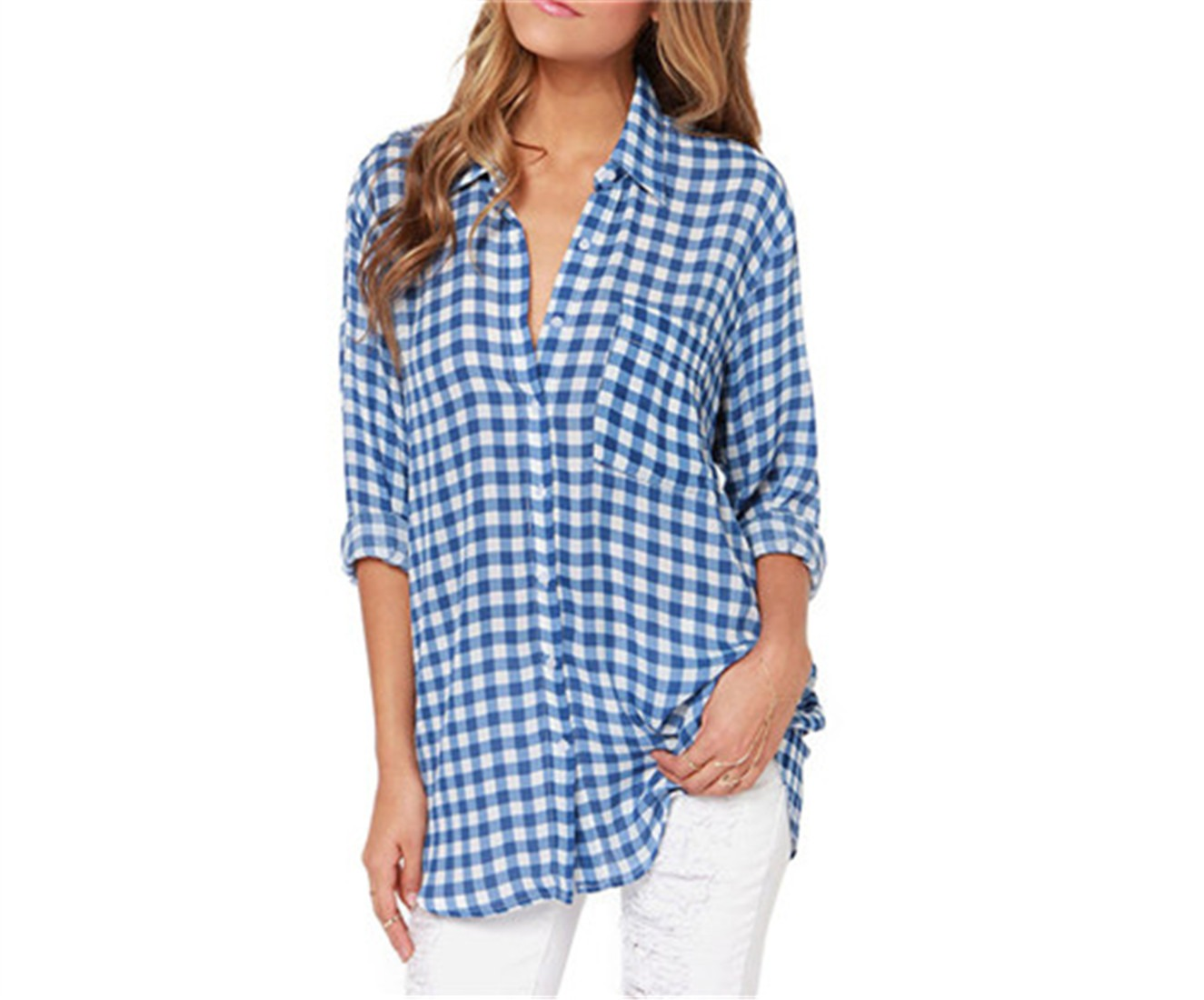 Blue White Checks Plaid Basic Long Sleeve Chiffon Tops Blouses casual Shirt new