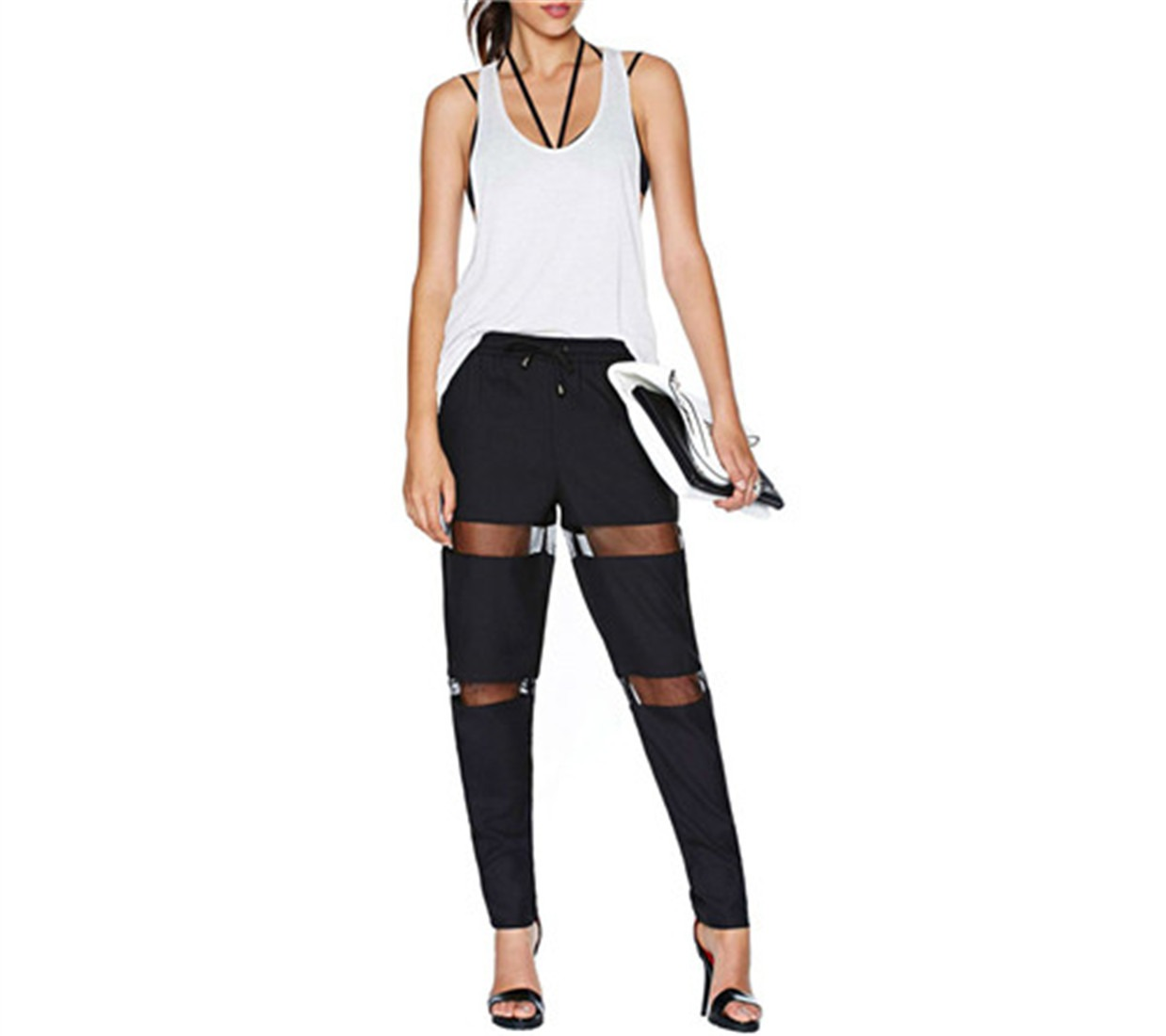 Black Fashion Women Boyish Cool Style Mesh Sexy Wide Harem Long Pants Trousers