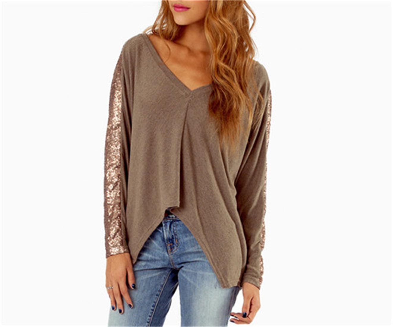 New Hot Bling Sequins Paillette Long Sleeve V Neck Women T-Shirt Tops Tee