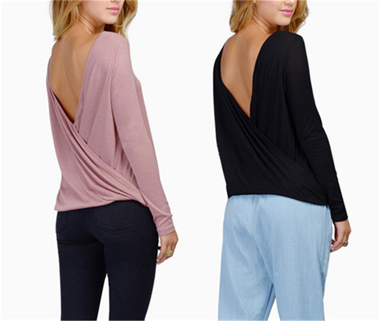 sexy backless Long Sleeve Casual women Tops Blouses Shirt T-Shirt V back new
