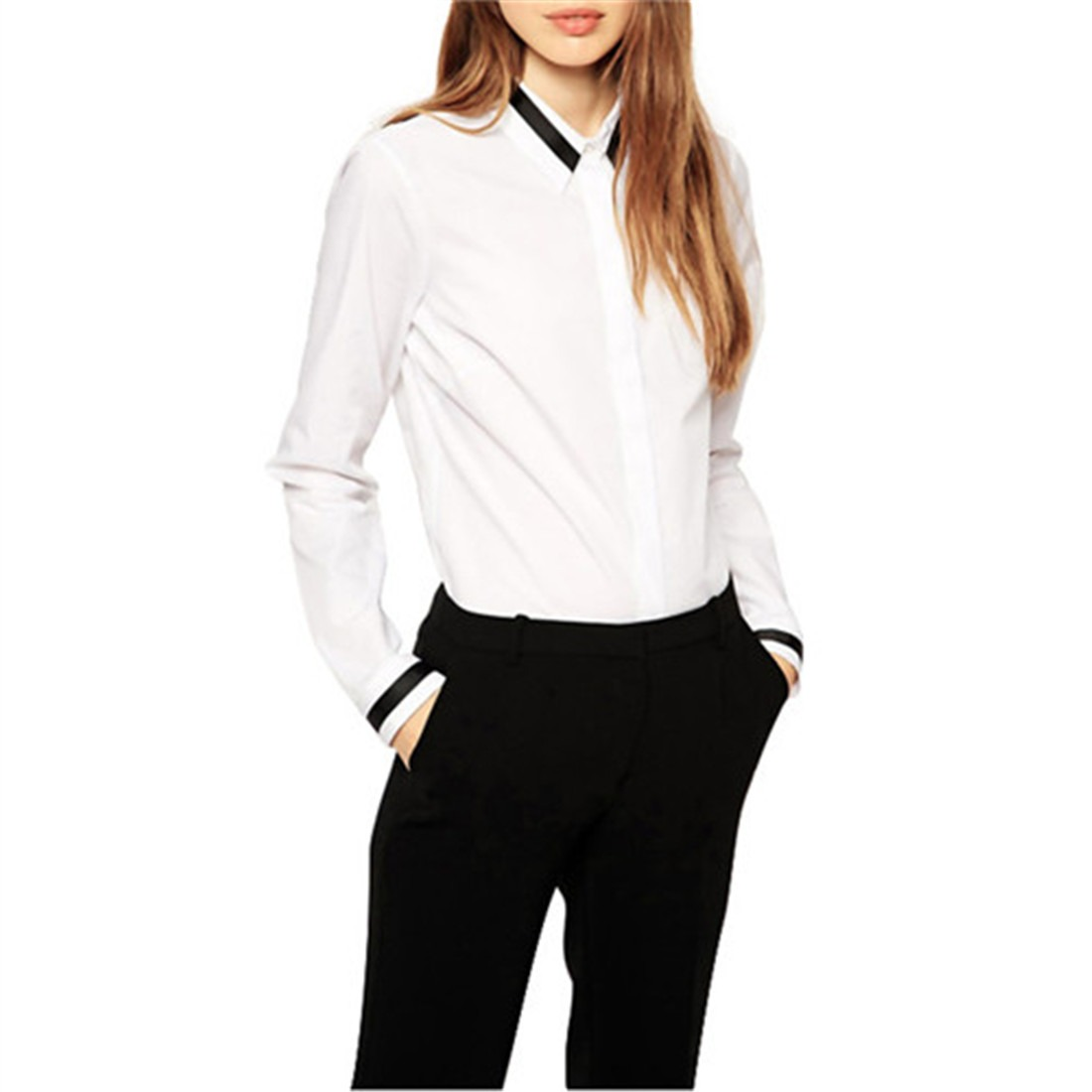 Classical New Fashion Women White Cotton Long Sleeve Basic Shirts Top Blouse Hot