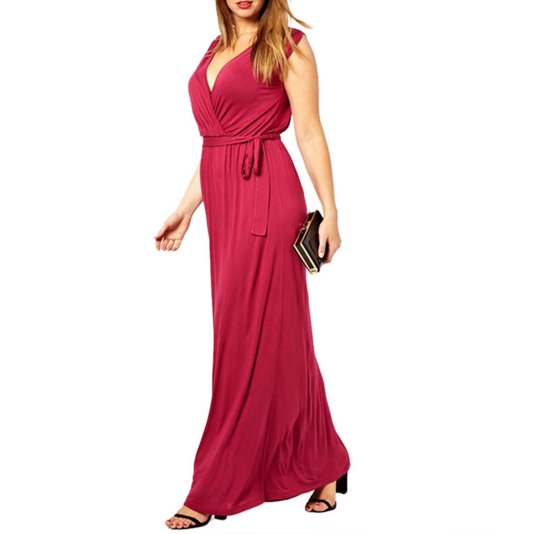 Women Summer Party Formal Deep V-Neck Sleeveless Belt Long Tunic Maxi Dress
