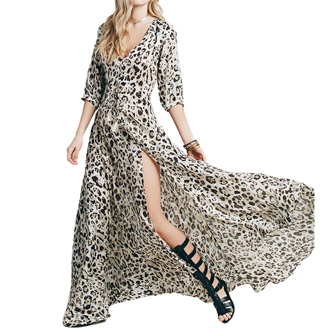 Sexy Leopard Grain 3/4 Long Sleeve Women V Neck Slit Long Chiffon Shirt Dress