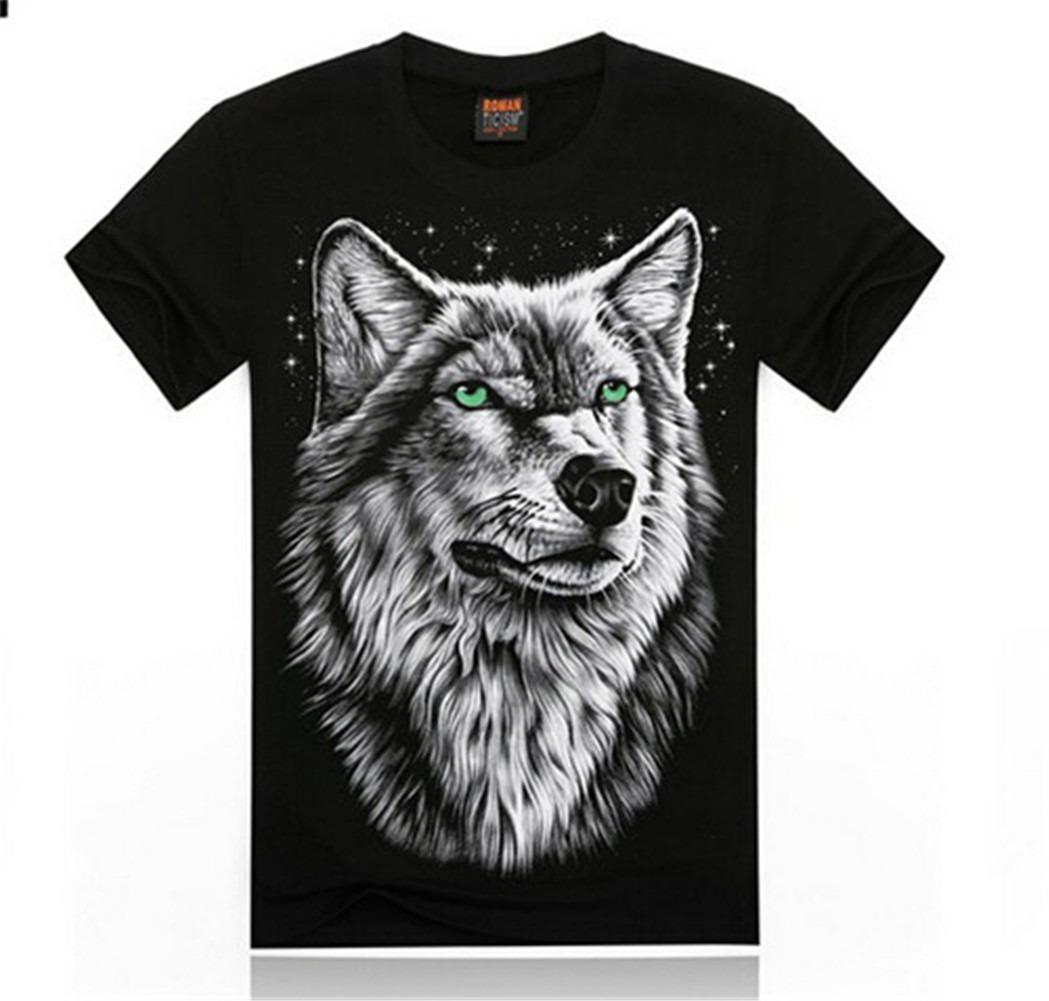 Men's Rock Snow Wolf Basic Cotton Soft Tee 3D Print Short Sleeve Black T-Shirt