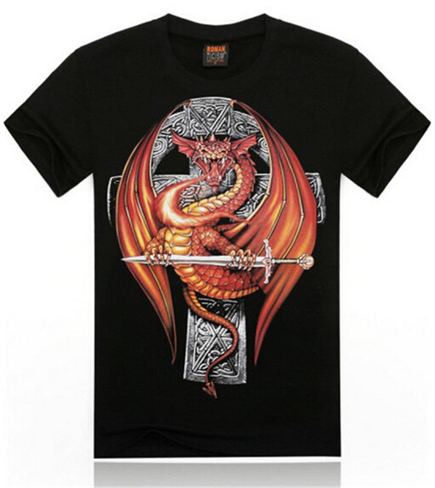 dinosaur Flying Scare Rock Punk Crew Neck Cotton Casual Black Tee T-Shirt Men