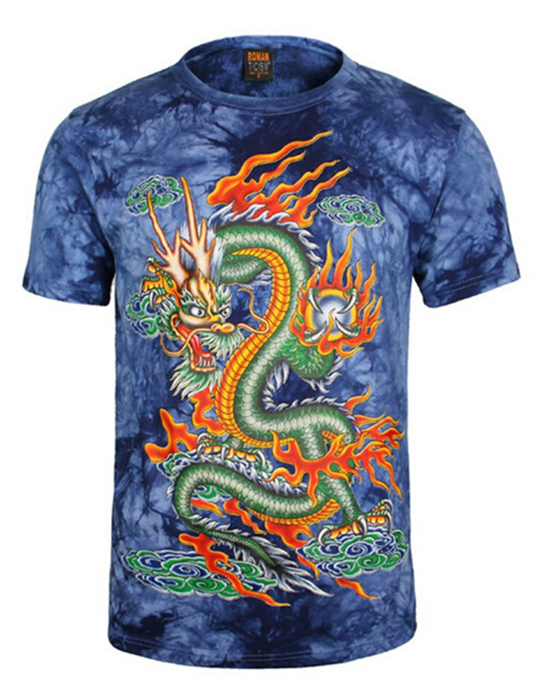 Orange Fire 3D Printed Dragon Twisted Short Sleeve  Men's T-shirt Tee  students