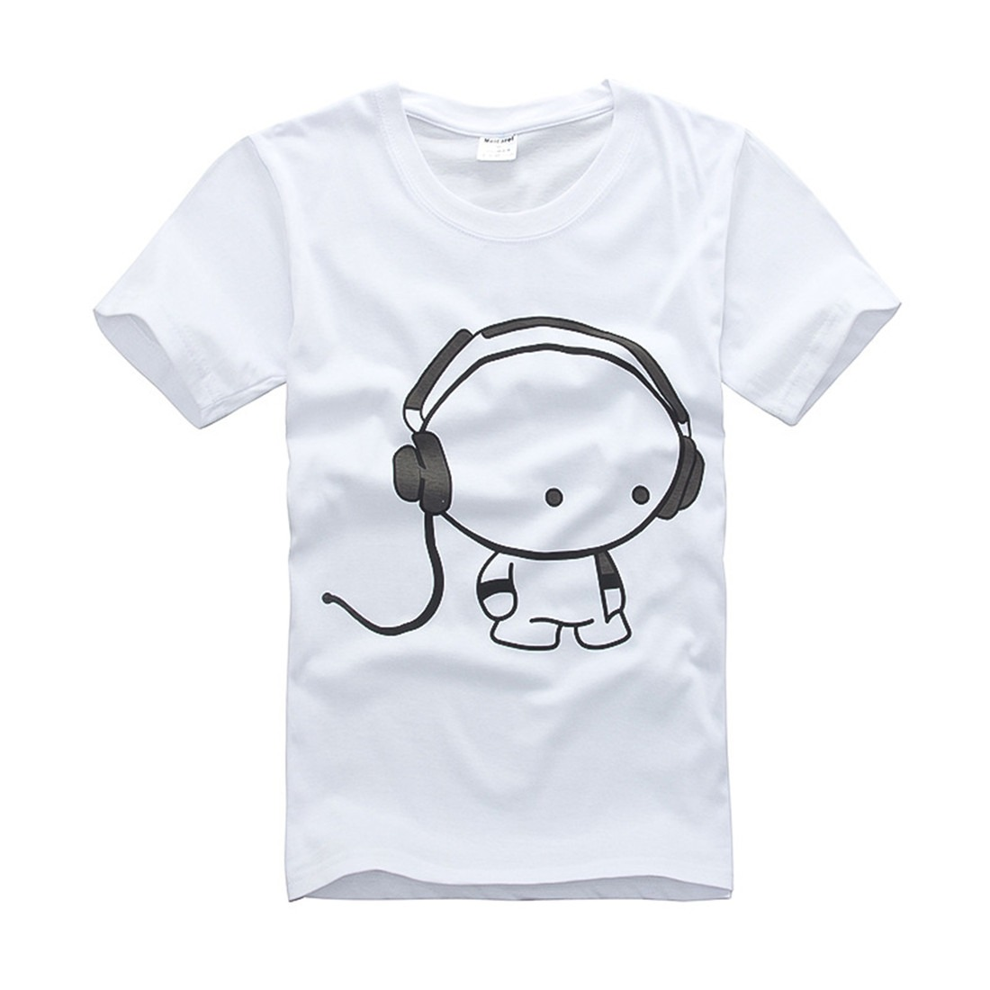 Men's Cartoon Headset Boy Cotton Basic Plus 3D Print Short Sleeve Black T-Shirt