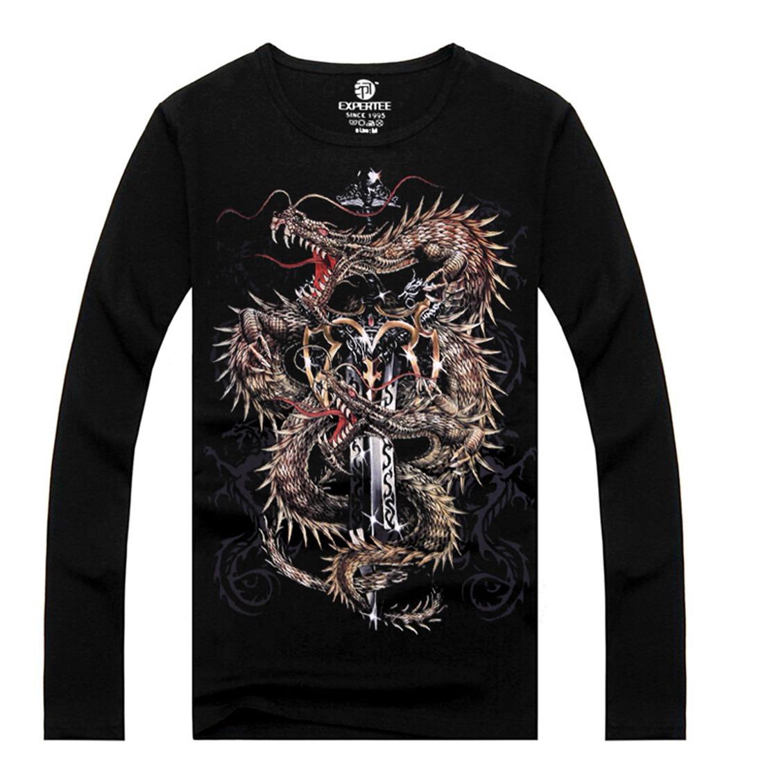Autumn Winter Basic Black 3D Printing Long Sleeve Fleece Body Warm Shirt Sweater