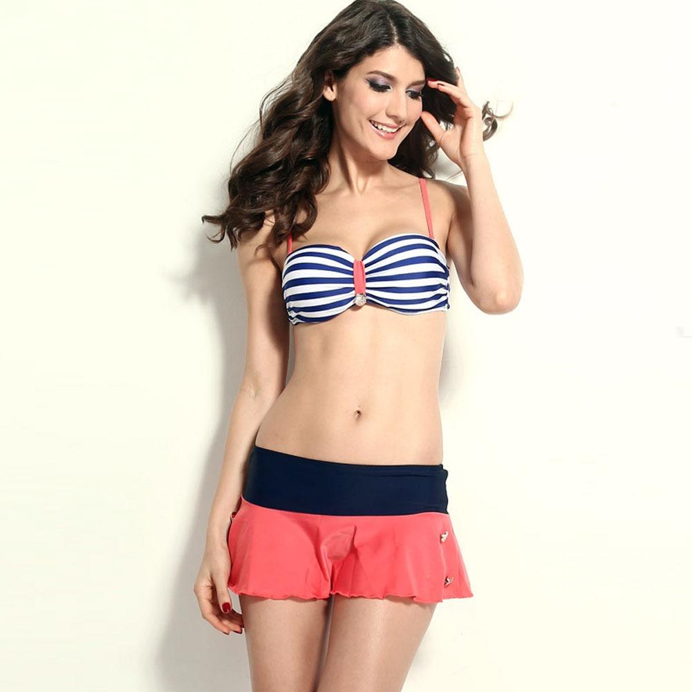 Navy Blue stripe Strap padded Bra Mini pantskirt Bikini Swimsuit Swimwear Set