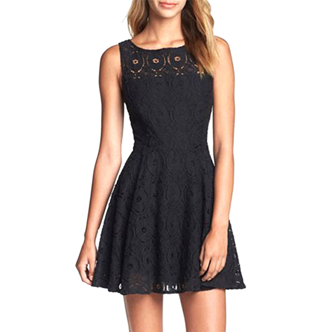 New Women Sexy Lace Floral Casual Short Party Evening Cocktail Summer Mini Dress