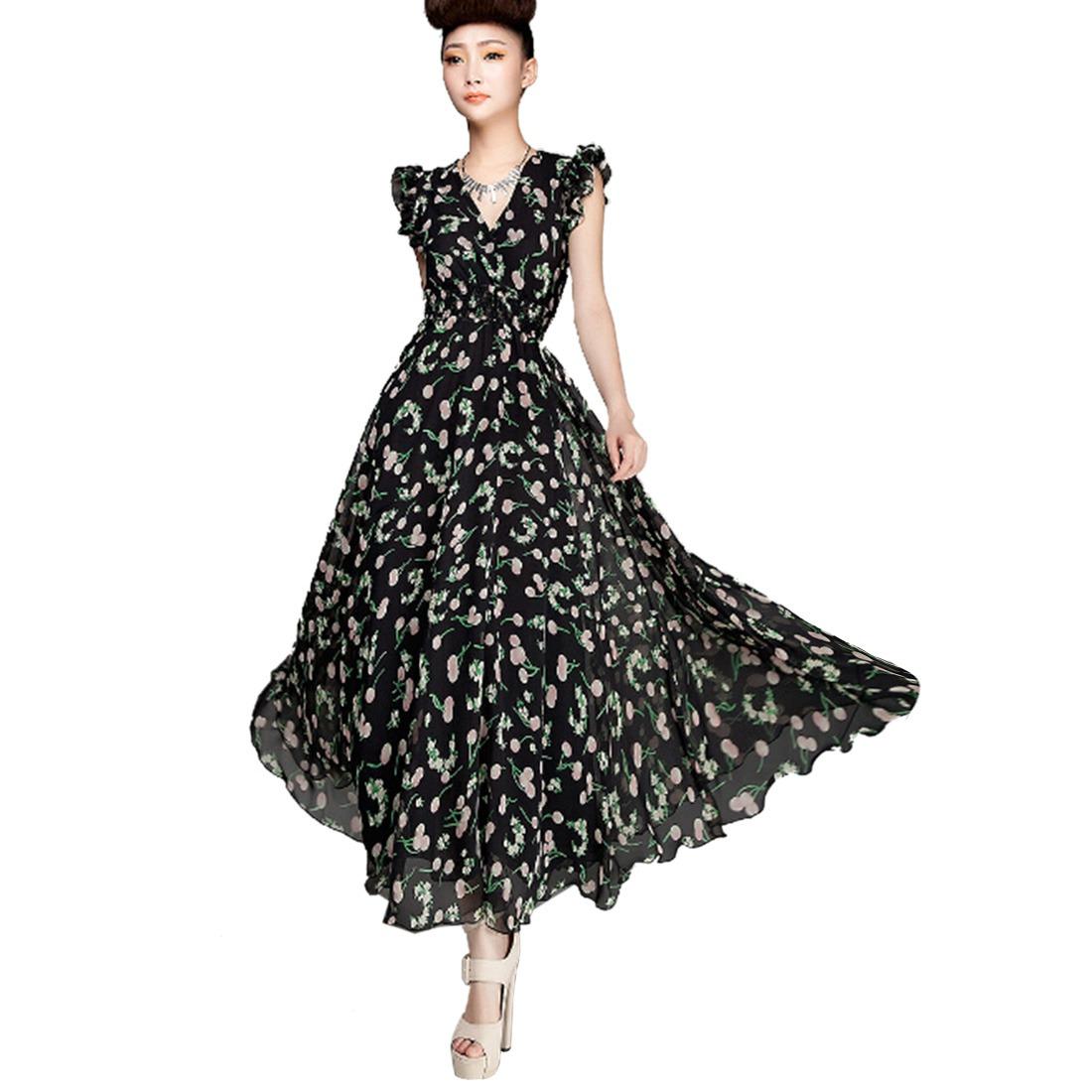 Women Black Base Cherry Printed V-Neck Sleeveless Falbala Ol Tunic Long Dress