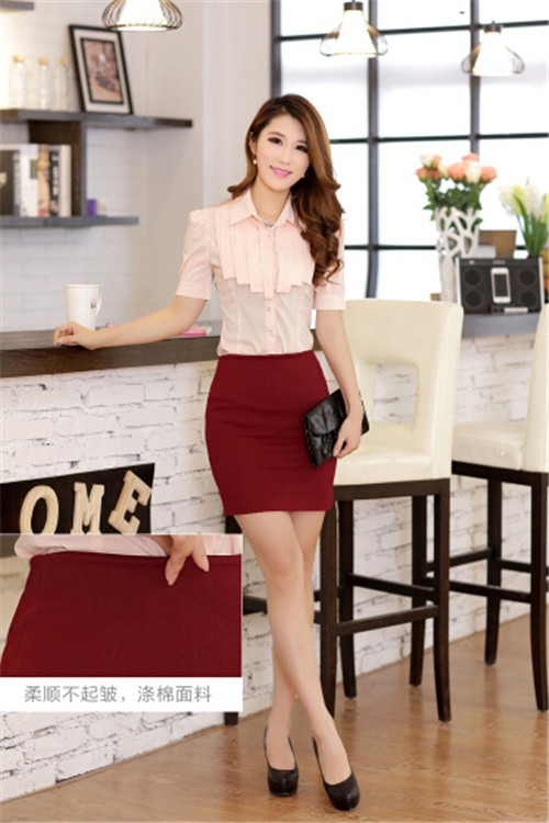 Women sexy solid color straight fitted sheath bodycon short pencil mini skirt