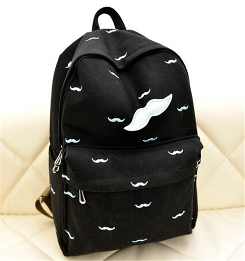 Fashion Canvas Mustache Glasses Backpack Rucksack Shoulder Bag Campus School Bag