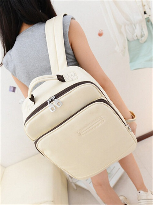 PU leather Computer Casual Women Girl School Student retro Shoulder bag Backpack