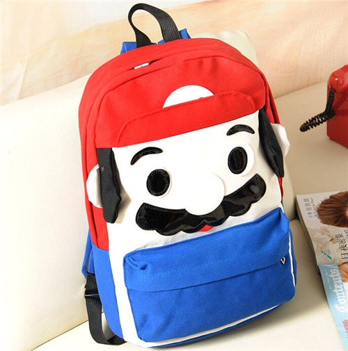 retro Cartoon Super Mario Kid Boy Girl Canvas Cute Backpack School Bag Rucksack