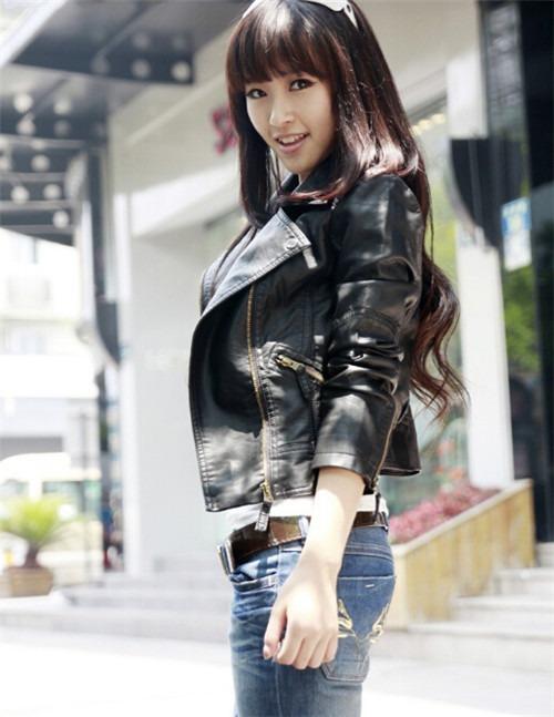 fashion Biker Women Lady Campus PU leather Lapel Short Coat Jacket manteau