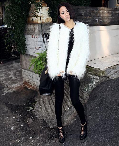 new White/Black Faux Fur winter warm Women's Coat Jacket outerwear manteau