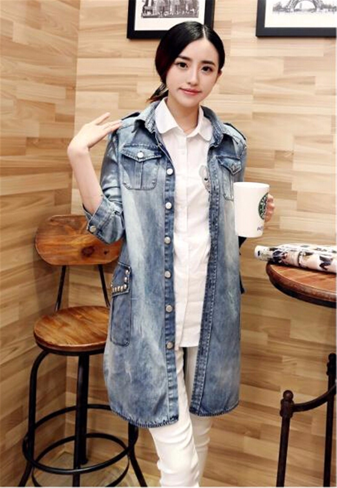 Women Blue Korea Style Single-Breasted Overwear Denim Jean Long Coat Blazer