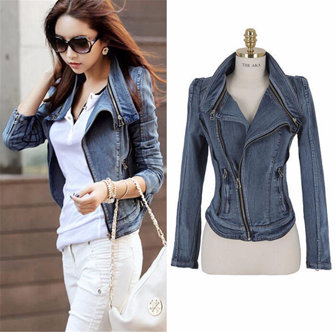 Sexy Fashion Lady Short Coat Blazer Denim Jean Long Sleeve Bodycon Zipper Jacket