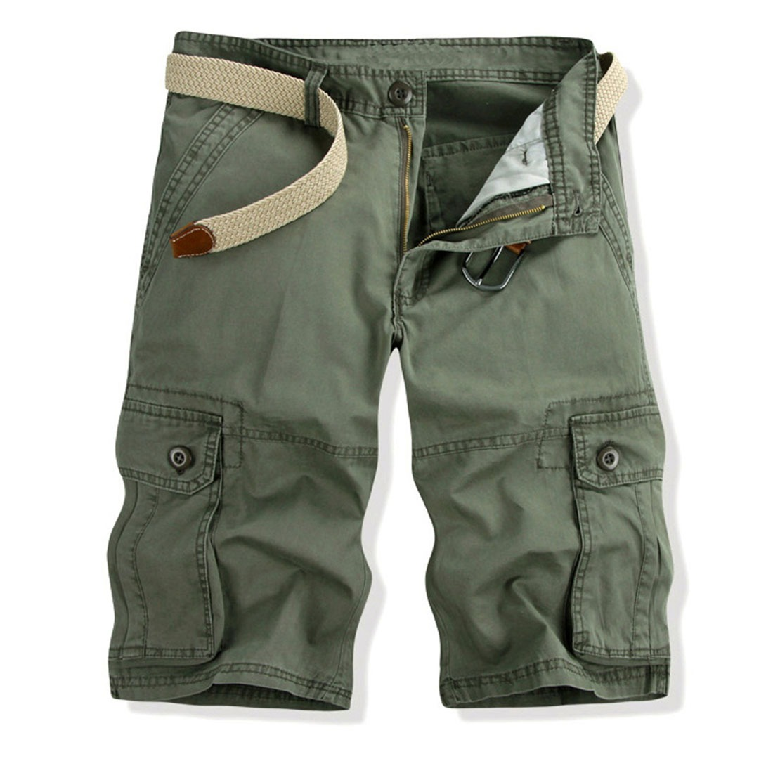 Men Cotton Camouflage Multi-Pocket Outdoor Casual Overalls Cargo Shorts Pants