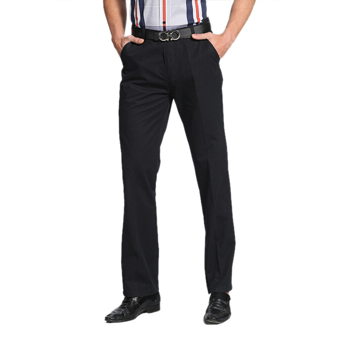 Fashion Cotton Mens Straight Slim Trousers Slacks Formal Business Long Pants | EBay