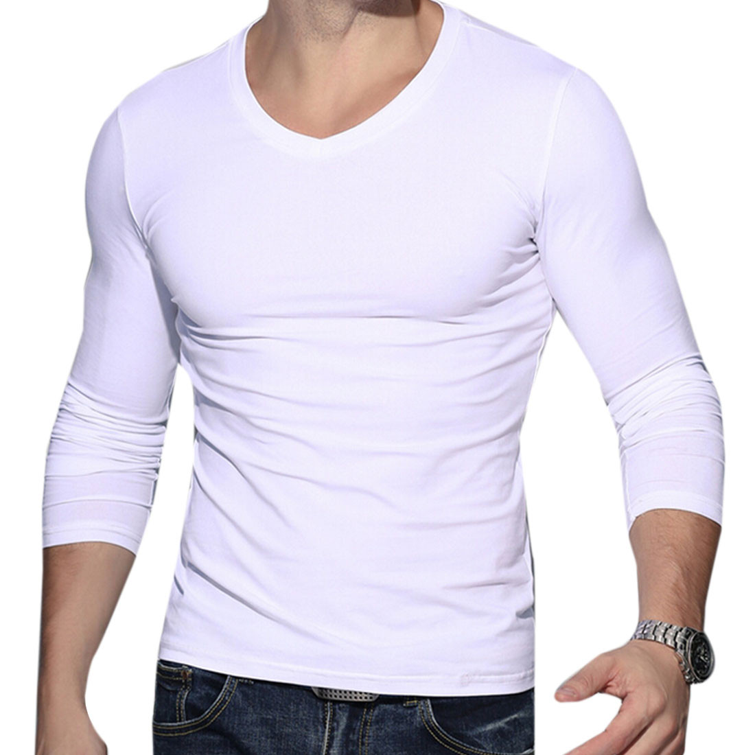 Solid Pure White Long Sleeve V Neck Cotton Fit Base Shirt T-Shirt ...
